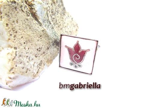 Termő tulipán - tűzzománc gyűrű - nemesacél, orvosi fém állítható gyűrű - Meska.hu