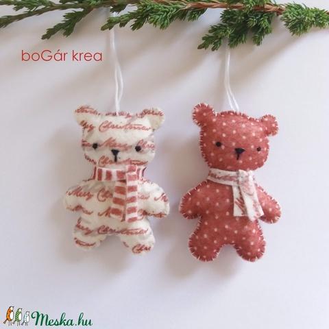Piros mackók - pöttyös, mintás - 2 db - karácsonyi dísz, függeszthető dekoráció - Meska.hu