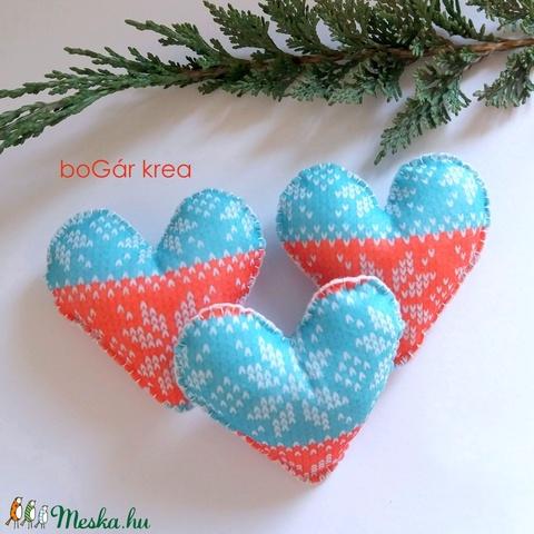 Karácsonyi szív, norvég mintás - 3 db függeszthető dísz - Meska.hu
