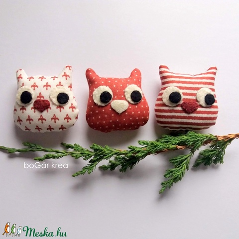 Három bagoly - karácsonyi dísz, függeszthető dekoráció - Meska.hu