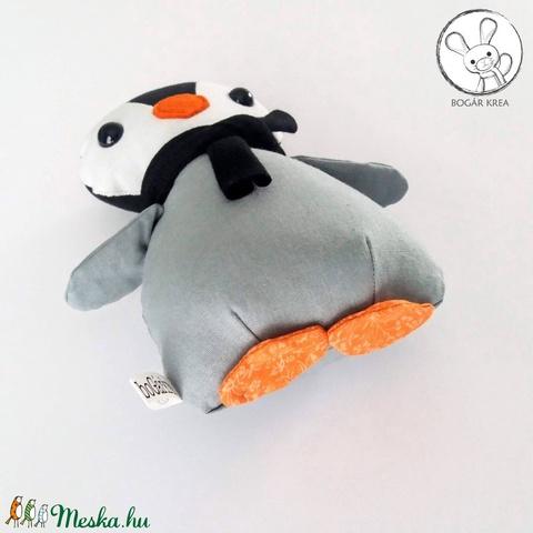 Pingvin bébi fekete sállal - textil figura - játék állat - Meska.hu