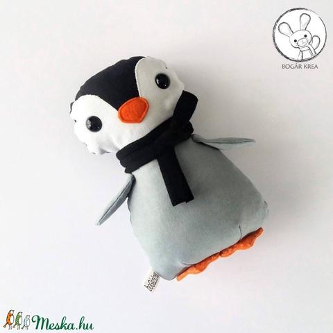 Pingvin bébi fekete sállal - textil figura - játék állat (boGarkrea) - Meska.hu