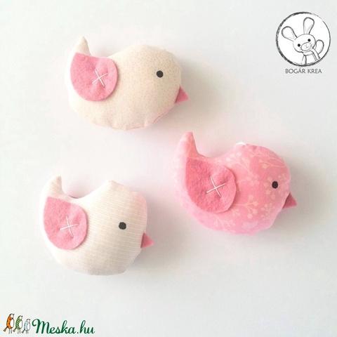 Kismadarak - rózsaszín szett - 3 darab függeszthető dísz, dekor madár, lakásdísz (boGarkrea) - Meska.hu