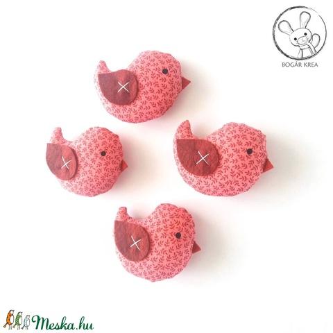 Kismadarak - rózsaszín szett - 4 darab függeszthető dísz, dekor madár, lakásdísz - Meska.hu