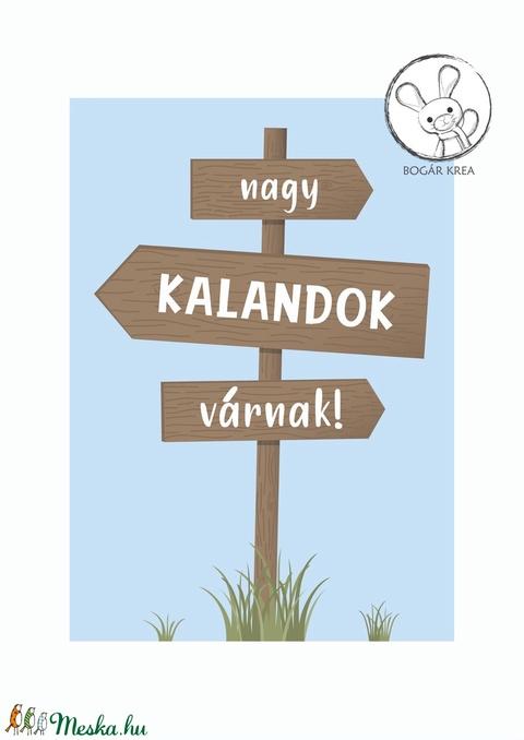 Nagy kalandok várnak! (kék, 3 darabos szett) - nyomat, illusztráció, print, poszter, falikép, dekoráció (boGarkrea) - Meska.hu