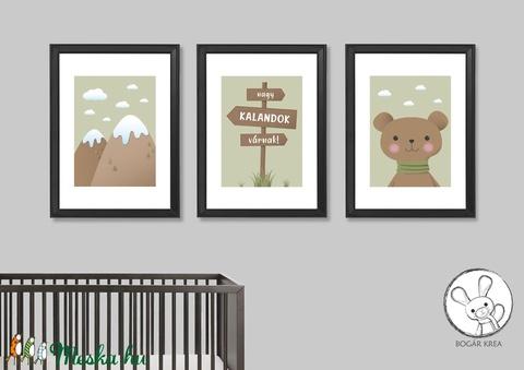 Nagy kalandok várnak! (zöld, 3 darabos szett) - nyomat, illusztráció, print, poszter, falikép, dekoráció (boGarkrea) - Meska.hu