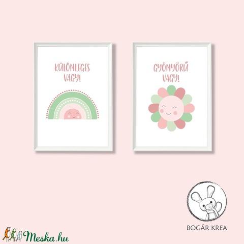 Különleges vagy! (rózsaszín-zöld, 2 darabos szett) - nyomat, illusztráció, print, poszter, falikép, dekoráció (boGarkrea) - Meska.hu