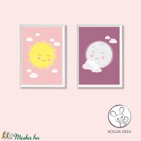 Szép álmokat, csodás nappalokat! (rózsaszín, 2 darabos szett) - nyomat, illusztráció, print, poszter, falikép, dekoráció (boGarkrea) - Meska.hu