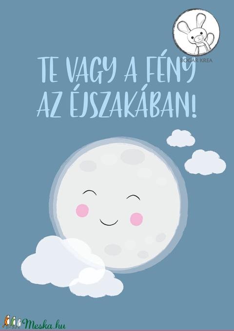 Csoda vagy! (kék, 4 darabos szett) - nyomat, illusztráció, print, poszter, falikép, dekoráció (boGarkrea) - Meska.hu