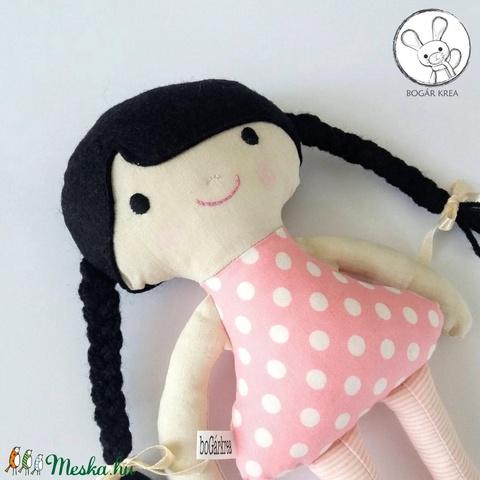 Rózsa baba + kabala szívecske - textil figura, puha baba, designer fejlesztő játék - Meska.hu