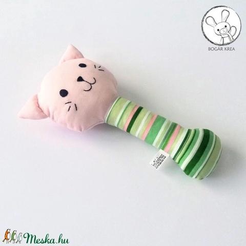 Cica csörgő, zöld csíkos, rózsaszín - bébi játék, textil figura, designer fejlesztő játék - Meska.hu