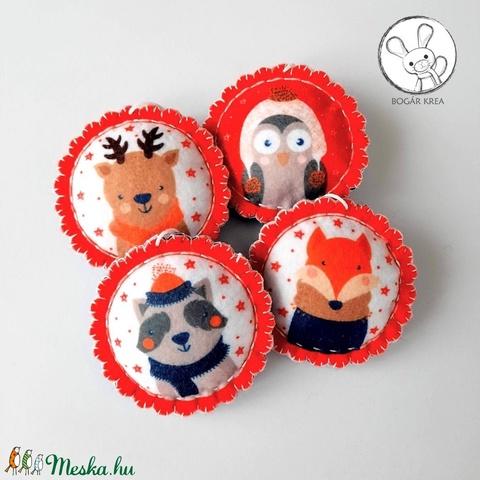 Erdei állatok karácsonyi dísz (kicsi) - 4 db-os szett - piros-sötétkék - Meska.hu
