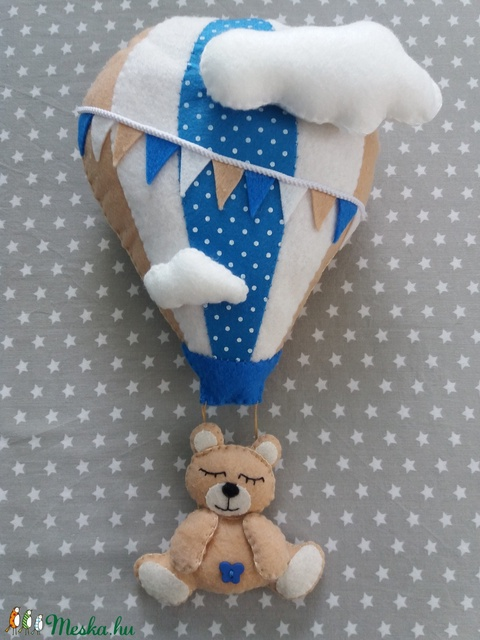 Babaszoba dekoráció - hőlégballonos maci (sötétkék) - Meska.hu
