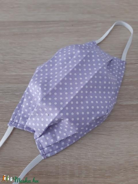 Drótos textil arcmaszk hölgyeknek - levendulalila, pöttyös - Meska.hu