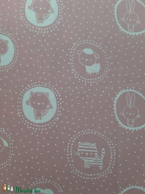 Gyermek textil maszk - pasztell rózsaszín pöttyös, állatkás - Meska.hu