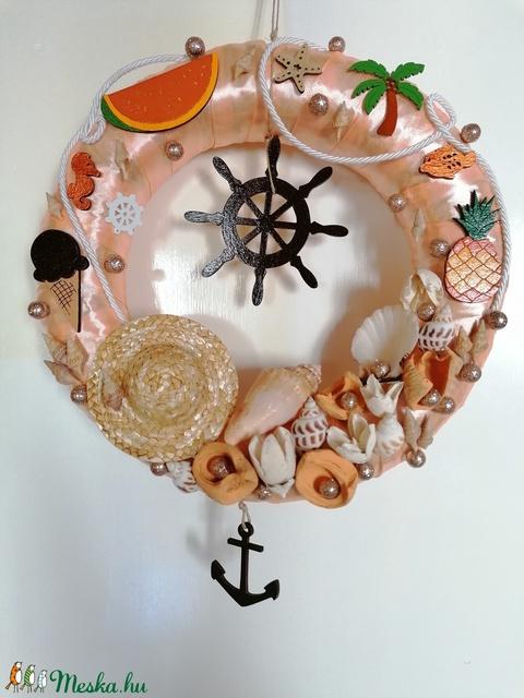Narancssárga hajós ajtódísz, kopogtató - nyári dísz, dekor, ajtóra - Meska.hu