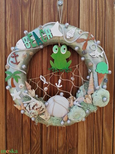 Zöld békás nyári ajtódísz, kopogtató - nyári dísz, dekor, ajtóra - Meska.hu