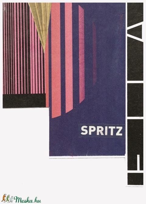 'Spritz' Egyedi kollázs, újrahasznosított papírból (bollakolos) - Meska.hu