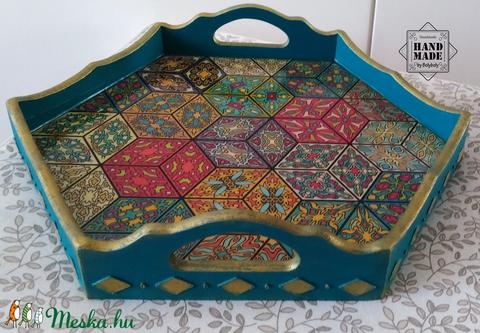 Keleti stílusú kínálótálca csempe mintával türkiz színű / antikolással, aranyozással  (Bolyboly) - Meska.hu