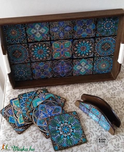 Különleges kínálótálca csempemintás kínáló felülettel, poháralátétek, szalvétatartó szettben (Bolyboly) - Meska.hu