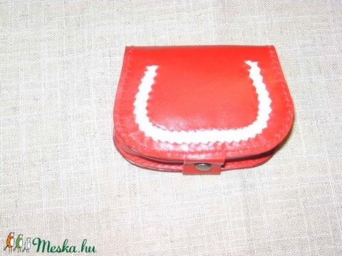 Piros-fehér bőr pénztárca (borboszi) - Meska.hu
