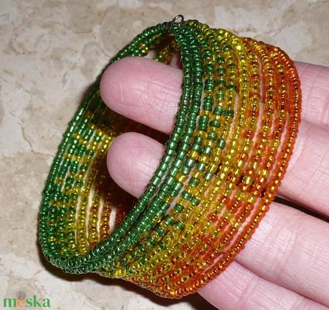 Jamaika - Zöld-citrom-narancs színátmenetes memória karkötő - Meska.hu