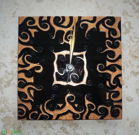 Réz-fekete egyedi festett üveg falióra  - Meska.hu