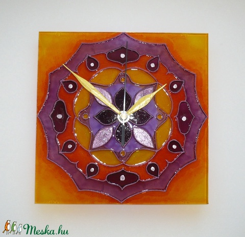 Mandala - lila, narancs mandala - egyedi festett üveg falióra - Meska.hu