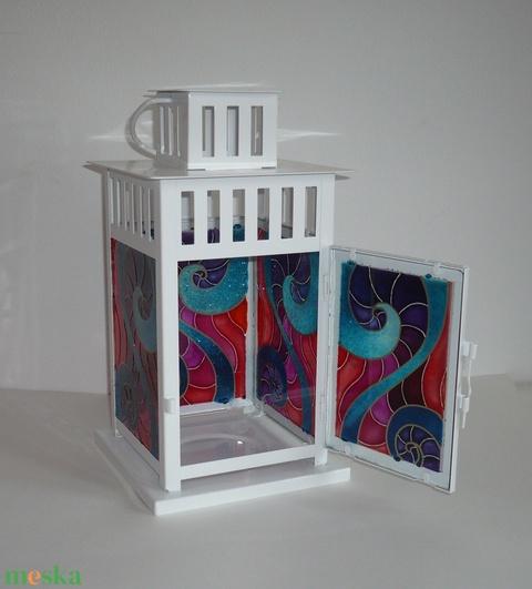 Színes lámpás - egyedi festett üveg gyertyatartó (Boriboszi) - Meska.hu
