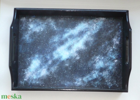 Galaxis tálca - egyedi, festett nagy fa tálca 30x40 (Boriboszi) - Meska.hu