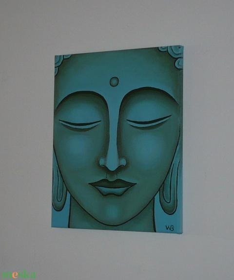 Türkiz Buddha - egyedi akril festmény, falikép 24x30 - otthon & lakás - dekoráció - kép & falikép - Meska.hu