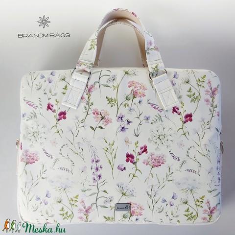 Tátika virágos női laptop táska designer textilbőrből  (BrandM) - Meska.hu