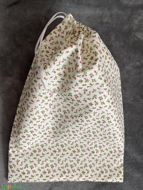Piros virágos kenyeres zsák (30x45 cm) - Meska.hu