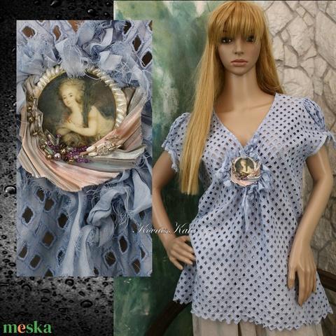 LADY BLUE - artsy vintage blúz  - Meska.hu