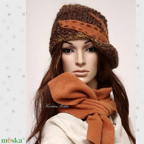 CLOCHE-ART  szett - kötött kalap sállal (brokat) - Meska.hu