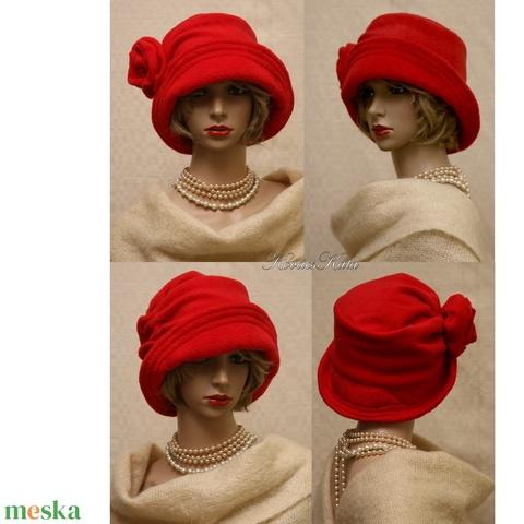 K A L A P -  S Z A L O N ................... ERNA cloche - polár flapper kalap L / piros (brokat) - Meska.hu