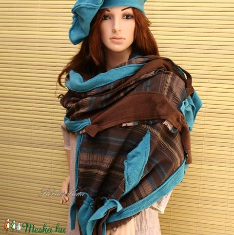 PAPAYA-szett - patchwork stóla barettel  (brokat) - Meska.hu