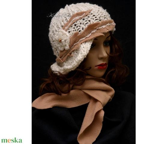 CLOCHE-ART szett - kötött kalap sállal / ivory-kreol (brokat) - Meska.hu