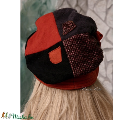 SZABRINA - patchwork barett-kalap (brokat) - Meska.hu