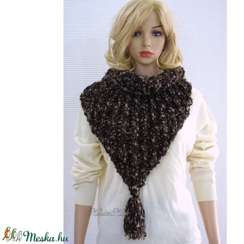 GIDA/barna - trendi kézzel kötött sálkendő  (brokat) - Meska.hu
