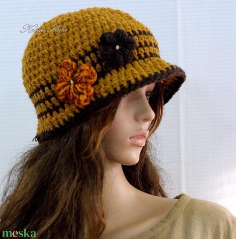 COCO - horgolt flapper-kalap / mustár (brokat) - Meska.hu