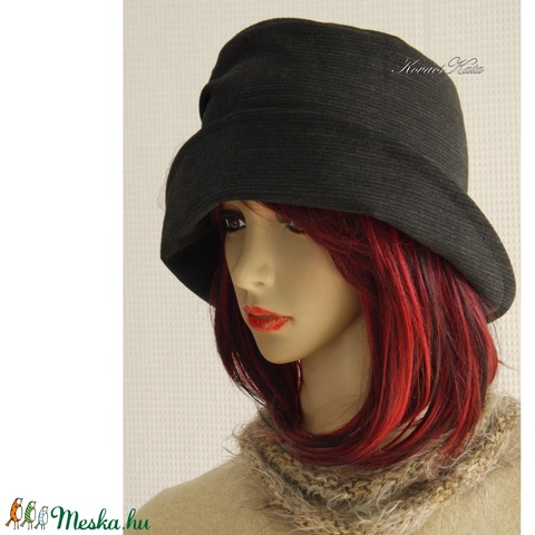 ERNA cloche - gyapjúszövet flapper kalap (brokat) - Meska.hu