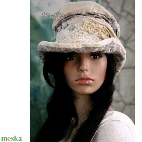 LUCA - artsy bohém cilinder, patchwork kalap (brokat) - Meska.hu