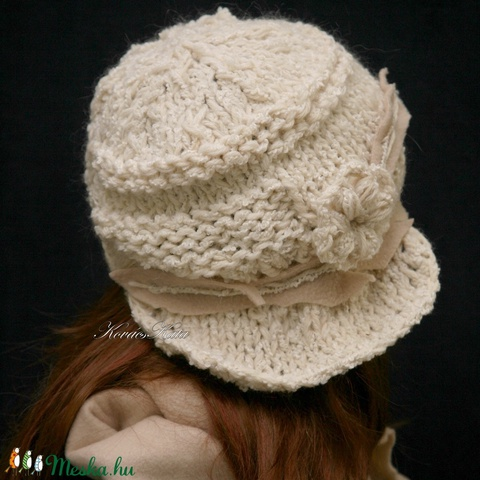 CLOCHE-ART szett - kötött kalap sállal /tört-fehér (brokat) - Meska.hu