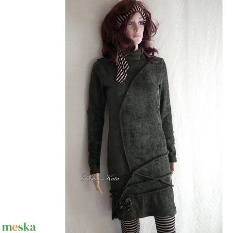 NASCA / oliv -  zsenilia pulóver-ruha (brokat) - Meska.hu