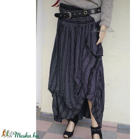 LUCA-SZOKNYA / fekete-fehér - lagenlook fashion design  (brokat) - Meska.hu