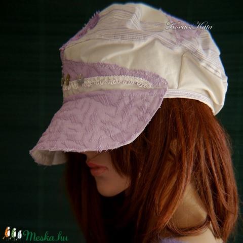 DERBY - shabby chic patchwork sapka / levendula - Meska.hu