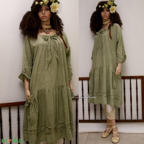 IBI-RUHA / földszínek - artsy lagenlook flapper-ruha  (brokat) - Meska.hu