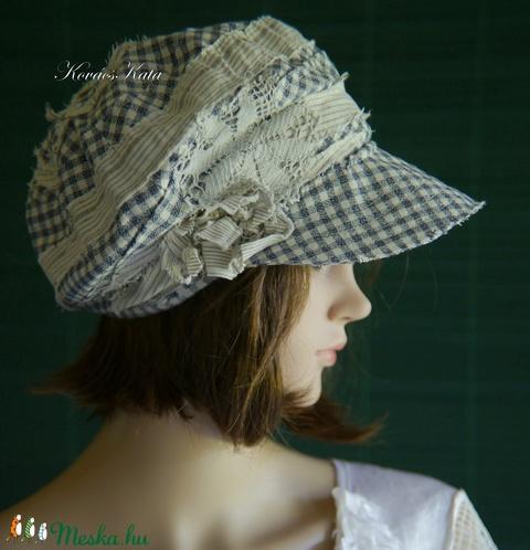 DERBY - shabby chic patchwork sapka / kék kockás (brokat) - Meska.hu