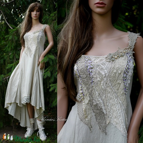 TAMARA / sand - artsy design ruha  (brokat) - Meska.hu